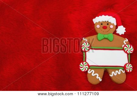Red Plush Fur And Gingerbread Man Christmas Background