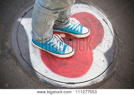 Blue Sneakers, Teenager Feet Stand On Urban Street