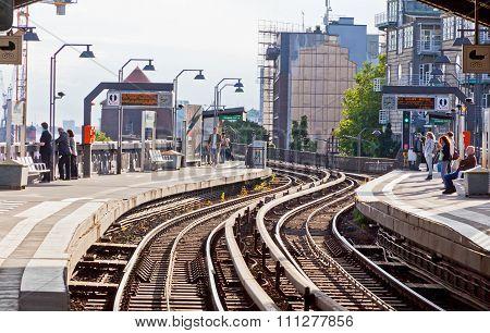 Baumwall U-bahn Station In Hamburg, Germany