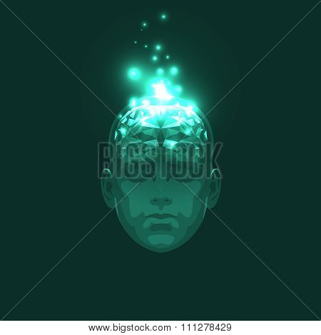 Front View of Abstract Human Head with a Brain.