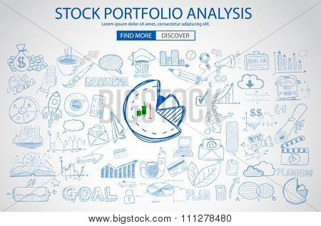 Stock Portfolio Analysis Concept with Doodle design style :following trends, money management, investment diversification. Modern style illustration for web banners, brochure and flyers.