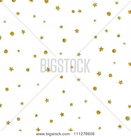 Christmas background with gold stars and spots
