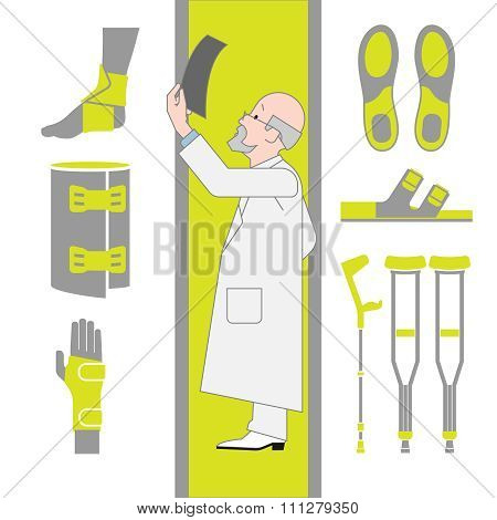 Set of Flat Icons From Surgery and Orthopedics