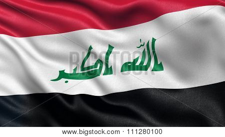 Highly detailed flag of Iraq waving in the wind.