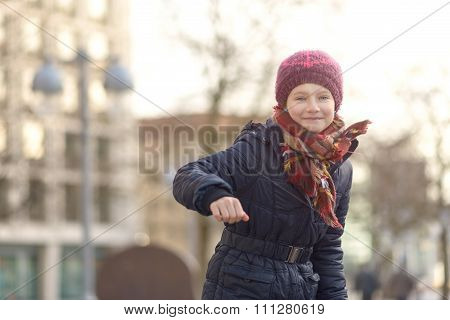 Happy Laughing Little Girl In Winter Fashion