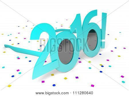 Light blue 2016 party glasses and New Year confetti