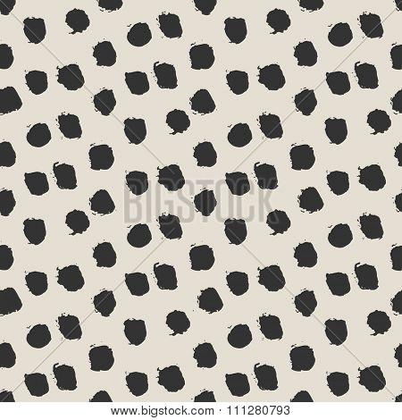 Seamless ink brush painted polka dot pattern. Vector illustration. Black and white grunge pattern. Can be used for tags, flyers, banners, web, print, textile and paper designs