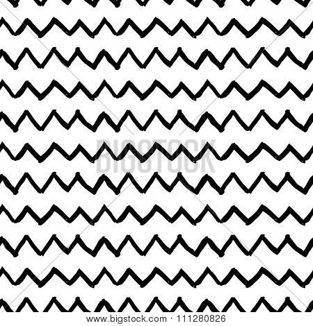 Vector seamless pattern. Abstract background with zigzag brush strokes. Hand drawn texture. Black and white grunge pattern. Can be used for tags, flyers, banners, web, print, textile and paper designs