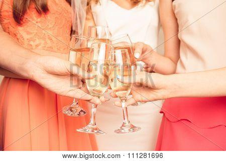 Closeup Photo Of Stylish Girls Celebrating A Bachelorette Party