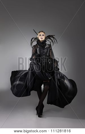Fashion Model In An Extravagant Dress