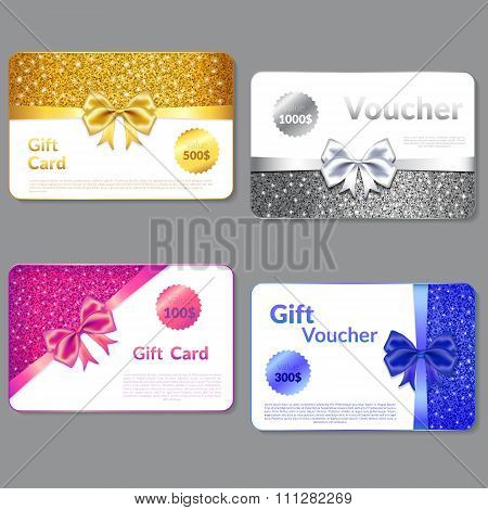 Gift Voucher Design with Glitter Texture and  Bow. .