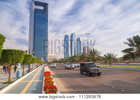 ABU DHABI, UAE - MARCH 29, 2014: Modern city architecture of Abu Dhabi, UAE. Abu Dhabi is the capital and the second most populous city in the United Arab Emirates with around 1 million people.