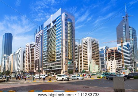 ABU DHABI, UAE - MARCH 25, 2014: Modern city architecture of Abu Dhabi, UAE. Abu Dhabi is the capital and the second most populous city in the United Arab Emirates with around 1 million people.