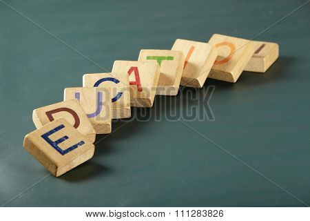 concept image of education like domino