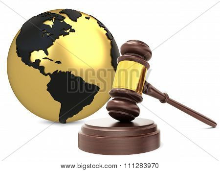 3D Wooden Judge Gavel With Earth Globe
