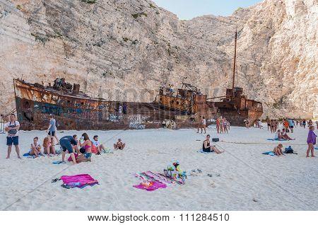 Tourists At The Navagio Beach On Zakynthos Island
