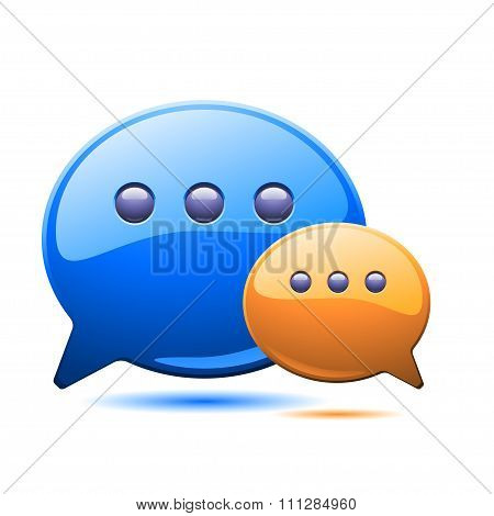 illustration of two coloured communication bubles
