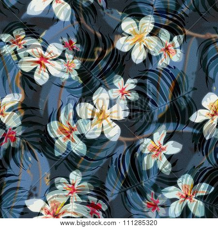 Tropical Floral Seamless Pattern Background