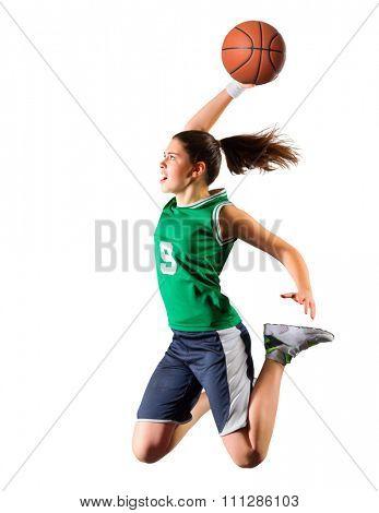 Young girl basketball player isolated