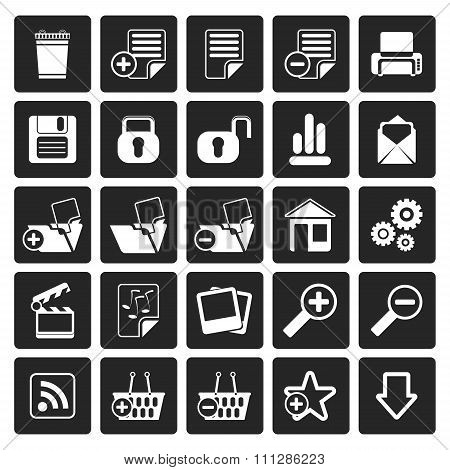 Black 25 Simple Realistic Detailed Internet Icons