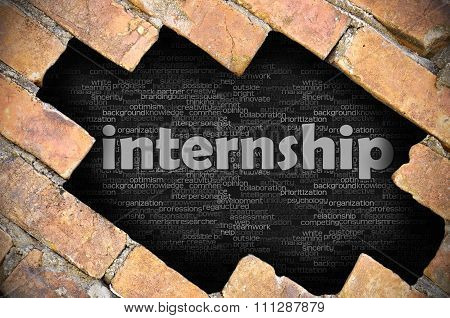 Hole In The Brick Wall With Word Internship