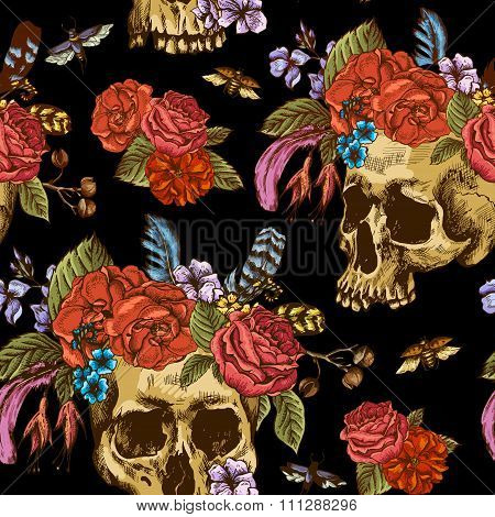Skull and Flowers Day of The Dead Seamless Pattern