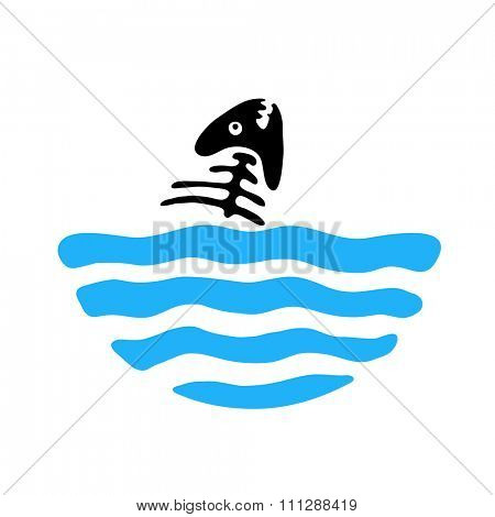 fish bone in water, logo illustration
