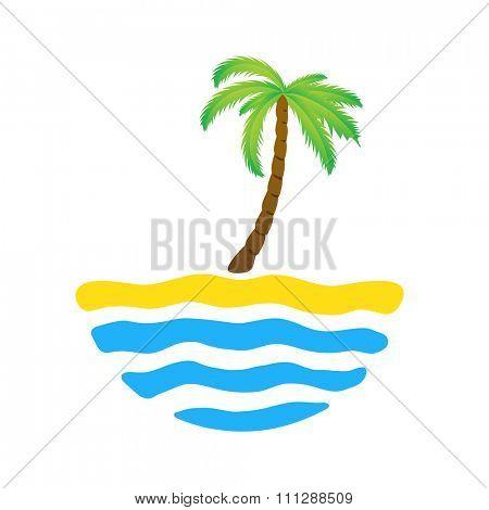 Tropical palm on island with sea. logo illustration.