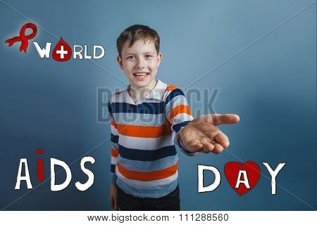 boy laughing and smiling stretched palm friendliness of Internat