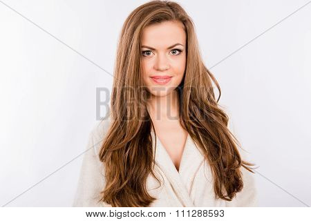 Portrait Of Beautiful Girl On White Background Wearing White Bathrobe
