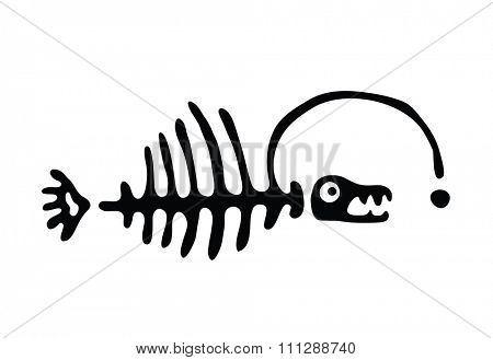 black fish bone, illustration