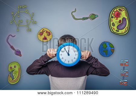 Teen boy covered his face with a clock icon set Education biolog