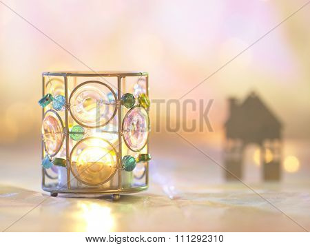 candle light holder and house shape ornament