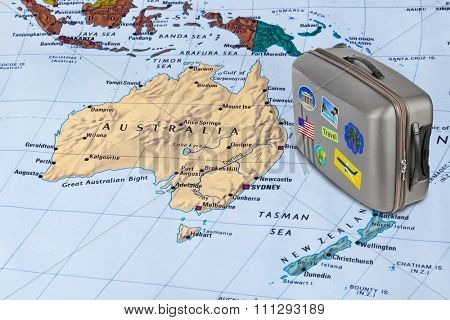 Australia map and case with stickers (my photos) - travel background