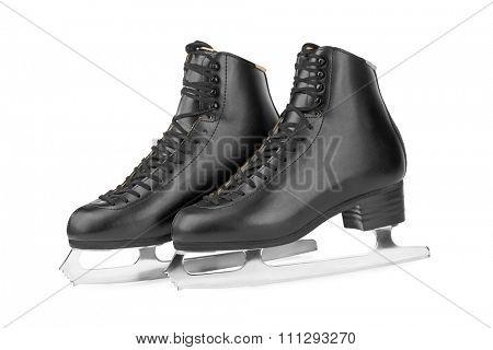 Black figure skates isolated on white background