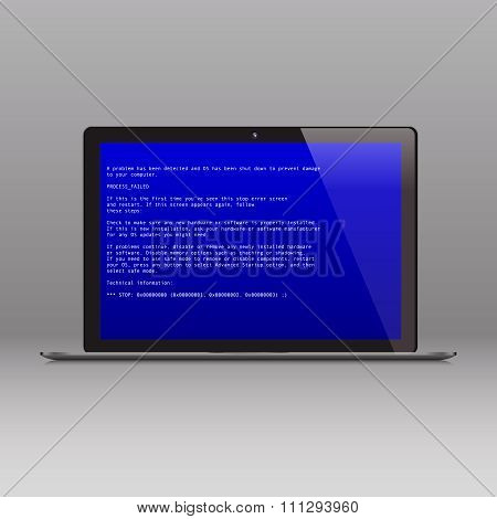 Business laptop with OS critical error message