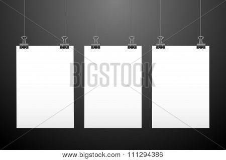 Set of hanging papers