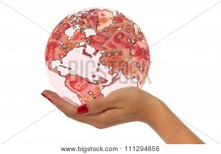 Hand Holding World Map Made From Chinese Yuan