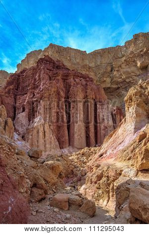 Gorge in the dry mountains of Eilat and natural