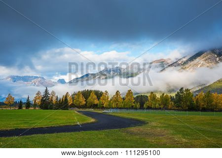 Golf courses in Banff. Gorgeous autumn in the Rocky Mountains