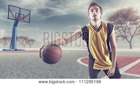 Young Playing Basketball