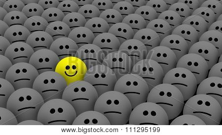One Yellow Among Many Smileys