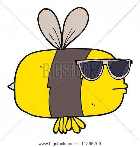freehand drawn cartoon bee wearing sunglasses