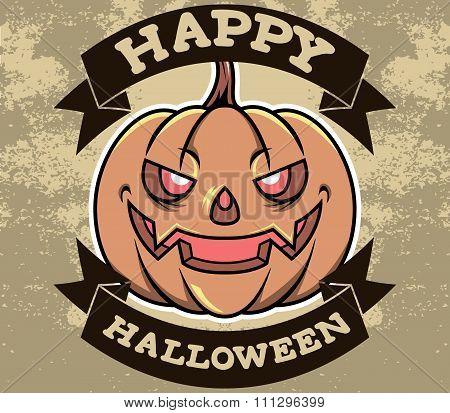 Pumpkin Head Halloween Badge