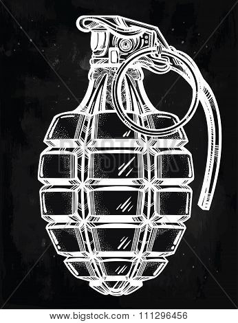 Hand drawn design of an army manual grenade.