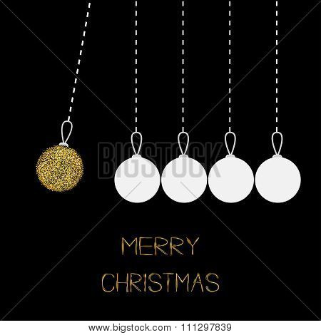 Hanging Christmas Balls. Dash Line. White And Gold Glitter. Perpetual Motion. Black Background.