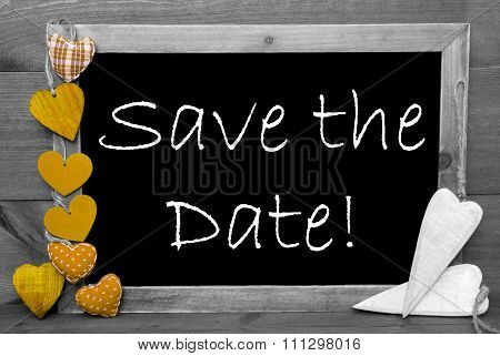 Black And White Blackbord, Yellow Hearts, Save The Date