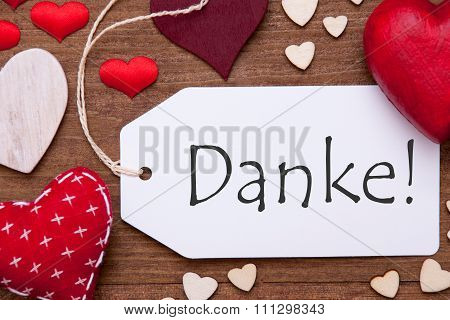 One Label, Red Hearts, Danke Means Thank You, Macro