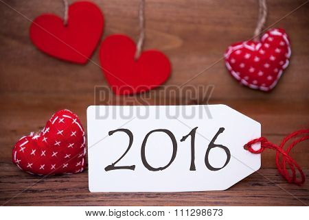 One Label With Romantic Hearts Decoration, Text 2016