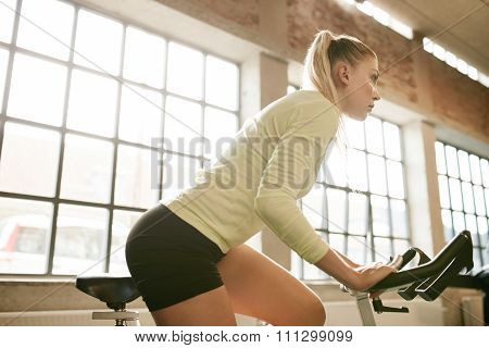 Woman Working Out On A Stationary Bike